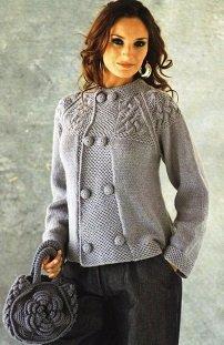 Вязание женских теплых кофт спицами 48