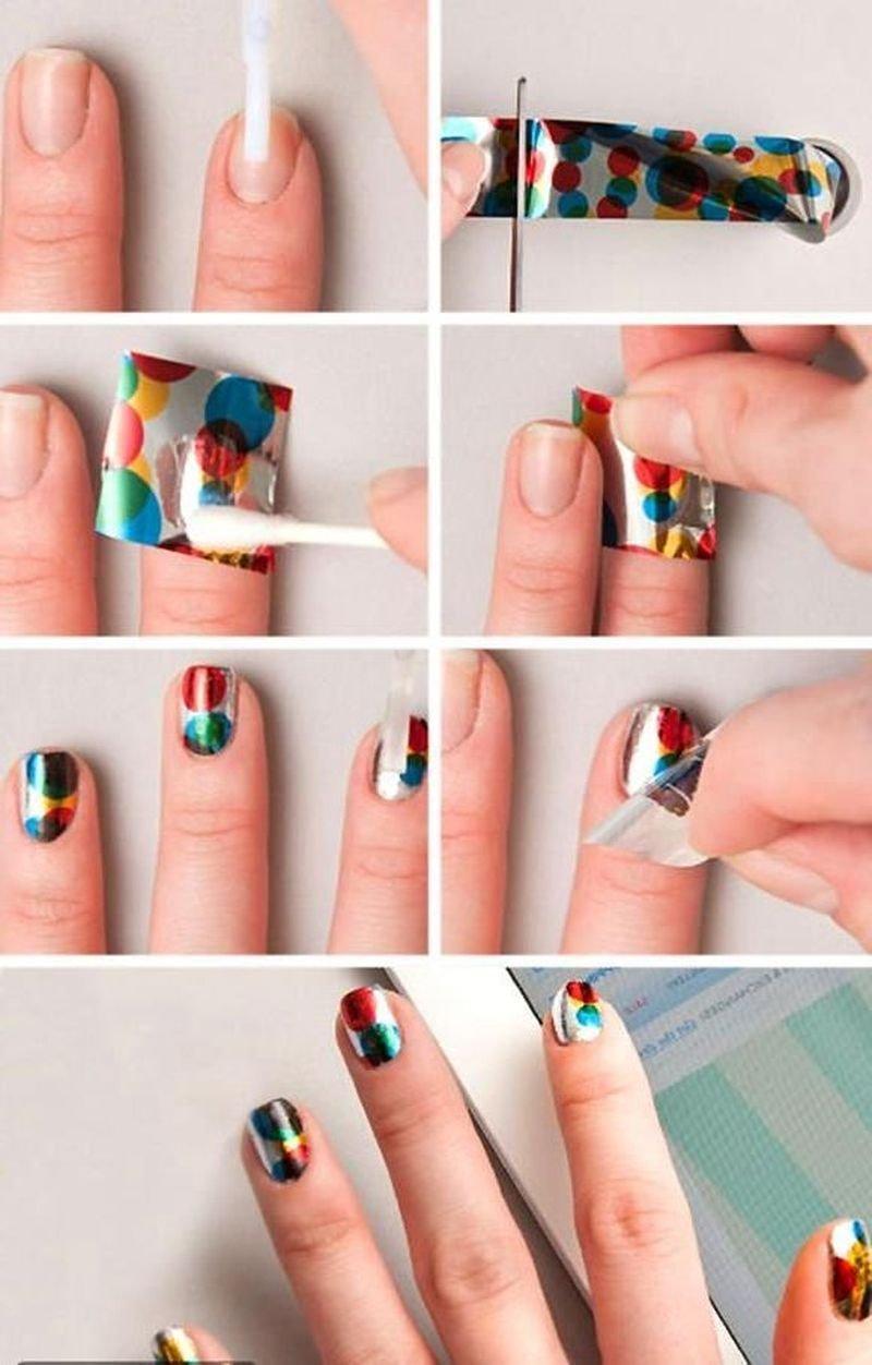 Как сделать ногти с лентами
