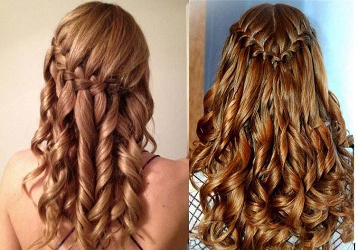 Прическа с накрученными волосами и с плетением