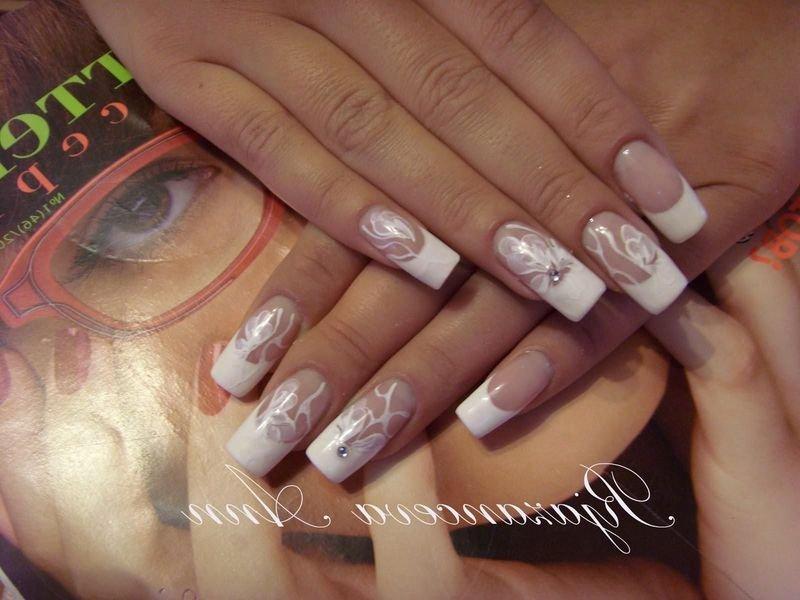 Свадебный дизайн ногтей наращивание ногтей