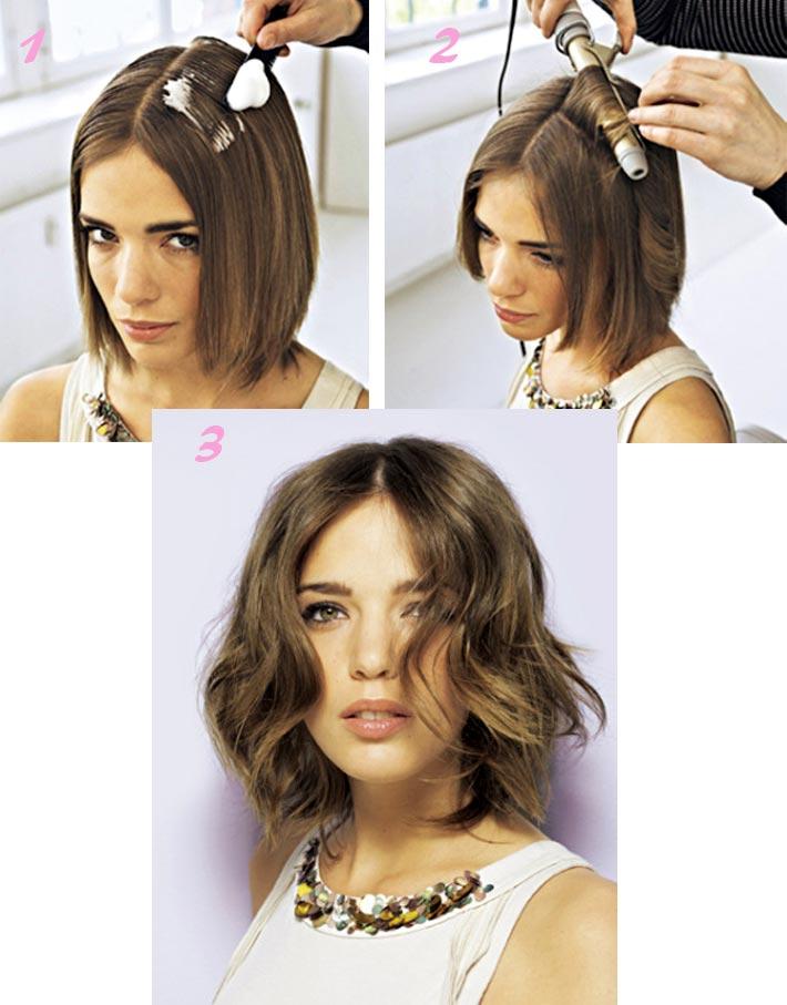 Как сделать короткий волос волнами 417