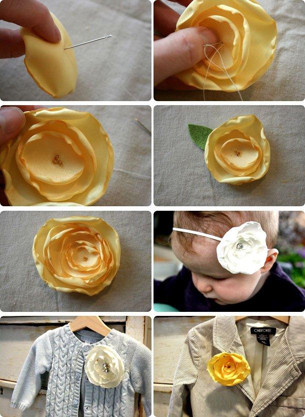 Как из декоративной ленты сделать цветок из
