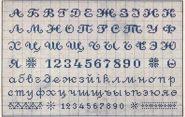 Шрифты для схем вышивки крестом 498