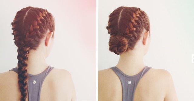 Прическа для тренировки на средние волосы