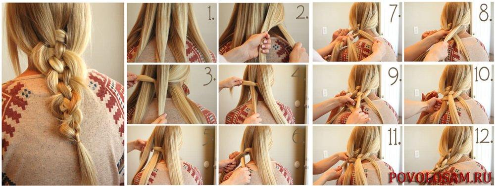 Как заплести косичку из 5 прядей схема плетения пошагово фото