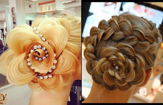 Прическа роза из косы