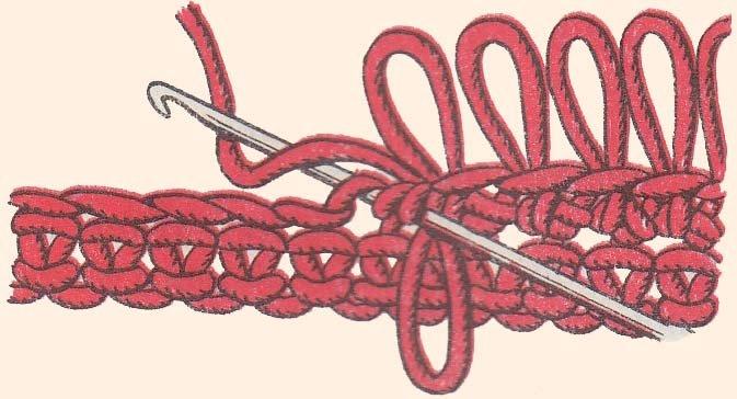 Вязание мочалки крючком с вытянутыми петлями пошагово 372