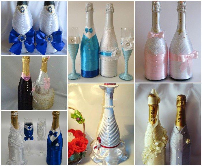 Свадебные украшения шампанского своими руками фото