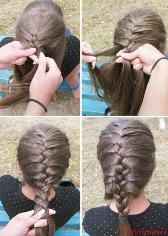 Как сделать колосок из волос по 117
