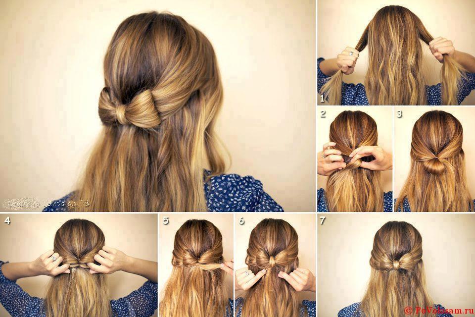 Схема как делать бантик на волосах