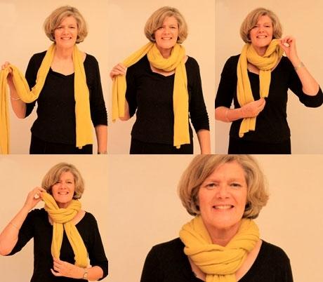 Как красиво завязать шарф поверх куртки видео