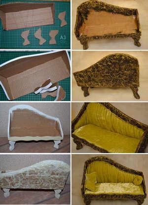 Как сделать диван для куклы лёгкий