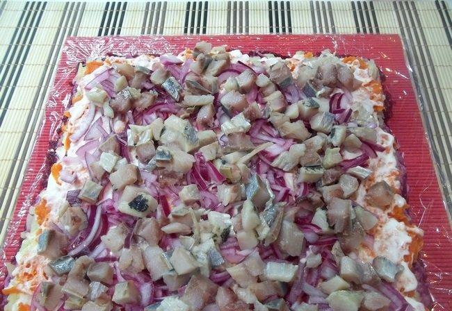 Салат рулетом пошаговый рецепт с