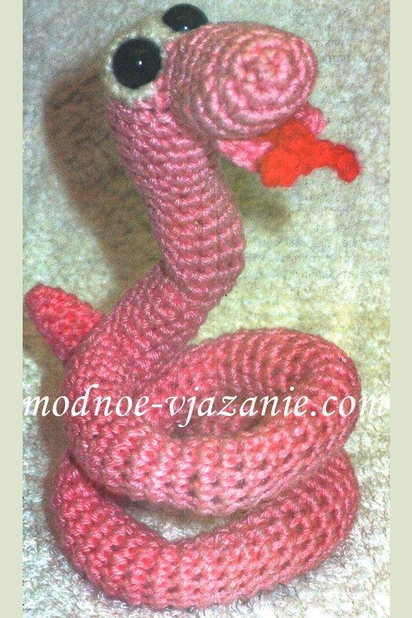 Змея вязаная крючком с схемой и описанием