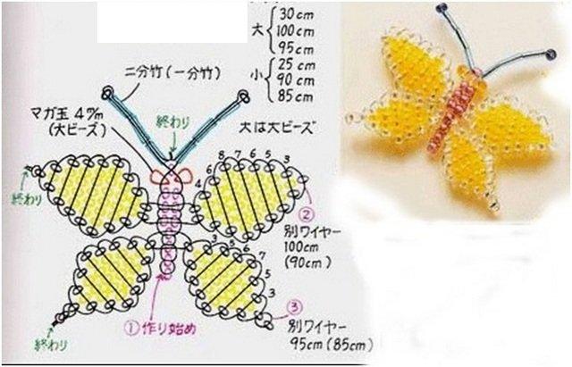 Как сделать бабочку из бисера для начинающих схема