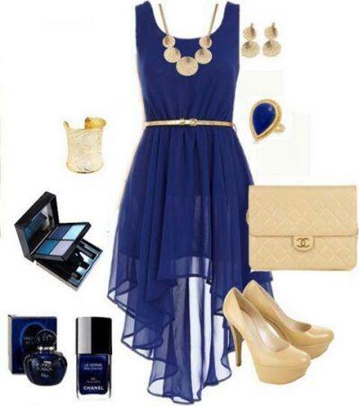 Что одеть с темно синим платьем в