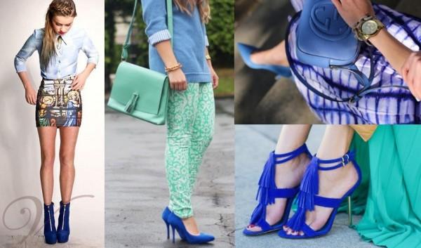 С чем надеть голубую обувь