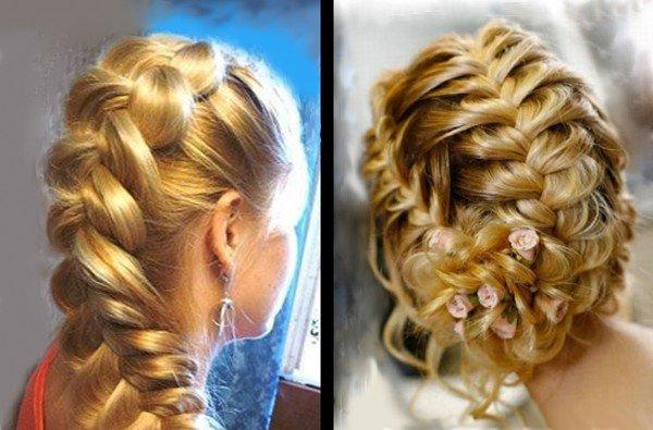Прическа объемная французская коса