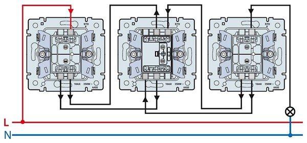Схема подключения три выключателя фото 403