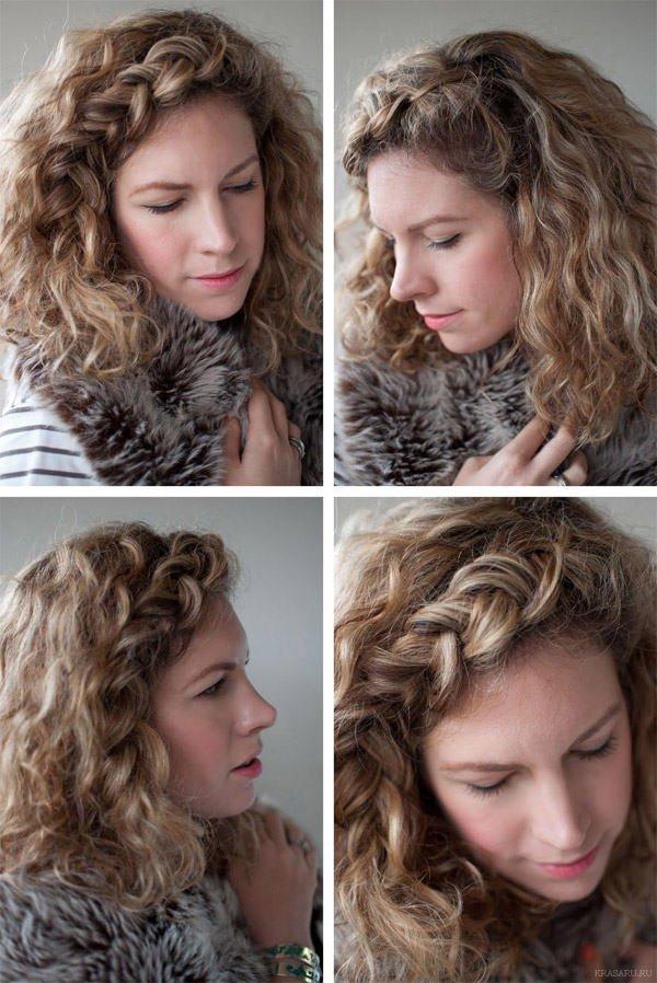 Прическа для кудрявых волос средней длины в домашних условиях