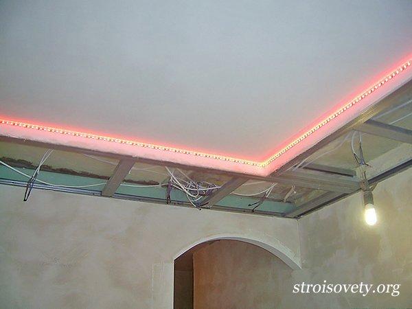 Как делается подсветка потолка своими руками