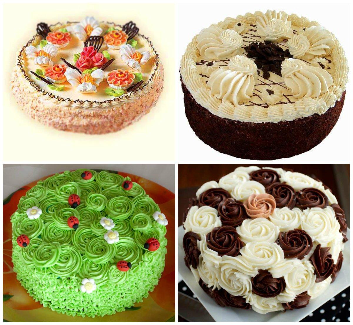 Как украсить простой торт кремом
