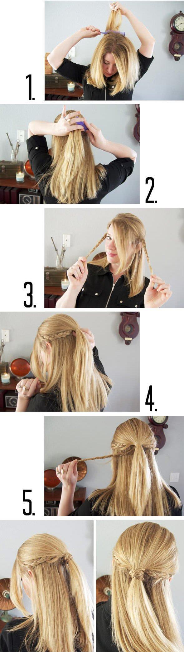 Прическа небрежный пучок из волос 78