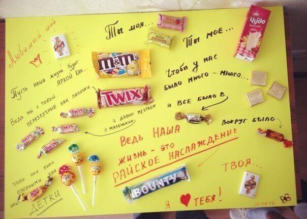 Плакат поздравление своими руками с шоколадками