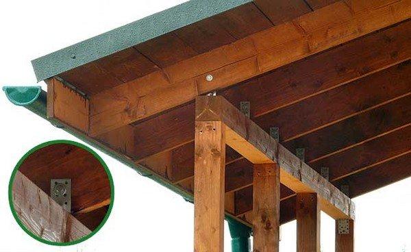 Навес на деревянных столбах своими руками
