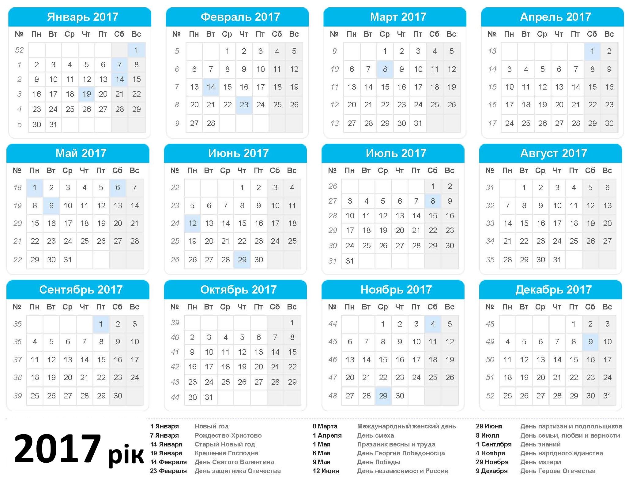 Православний церковний календар на 2017 рік