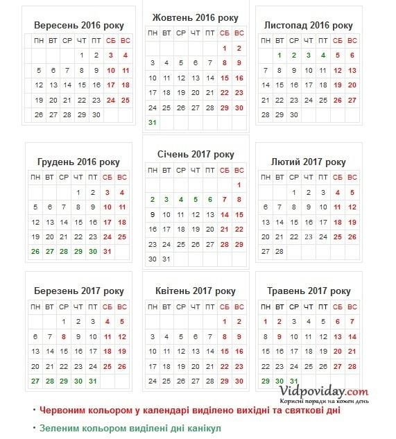 Навчальний календар на 2016 2017 рік. Шкільні канікули в Україні