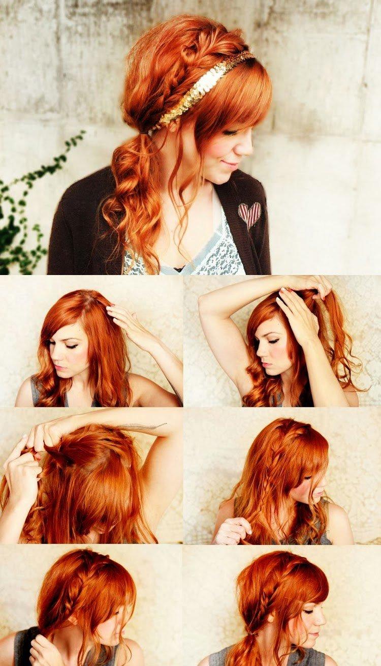 Как сделать прическу для средних волос с челкой