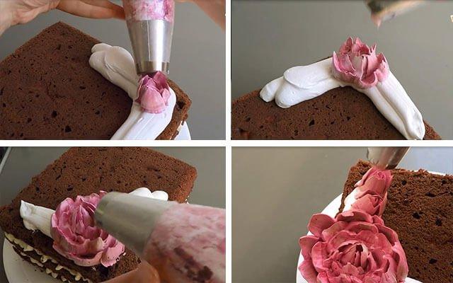 Как сделать из крема для торта пион