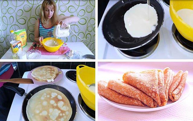 Тонкие блины на молоке с содой