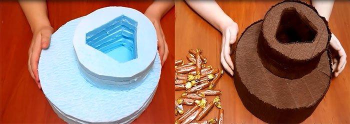 Торт из конфет пошагово своими руками 8