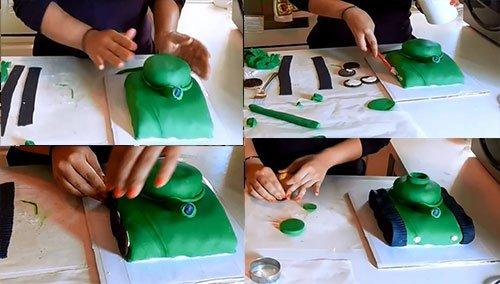 Торт с мастикой своими руками танк из 649
