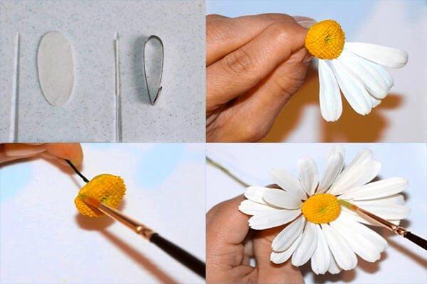 Как сделать ромашками из мастики 689