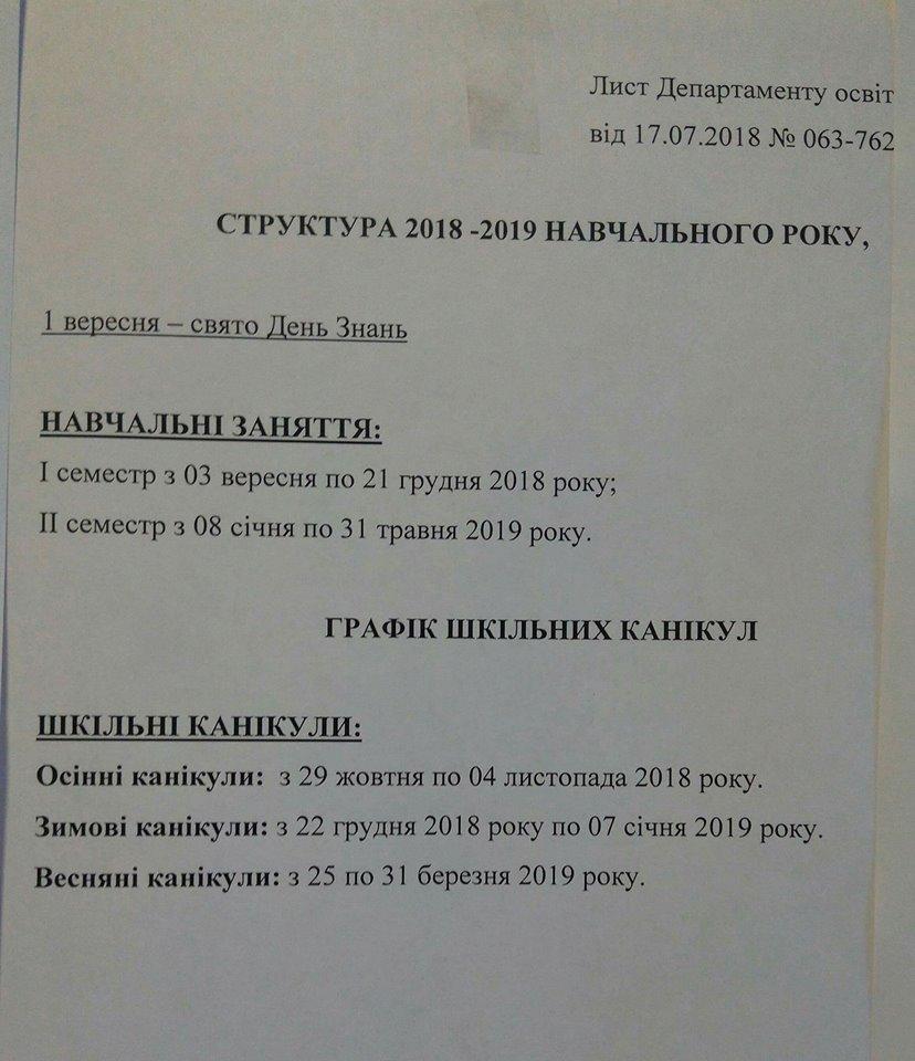 Коли шкільні канікули 2018 2019 в Україні?